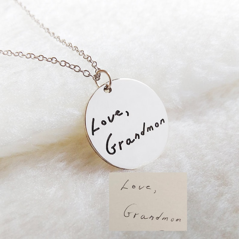 Silver Signature Necklace,Handwritting Necklace,Signature Necklace,Engraved Circle Necklace,Custom Handwritting Jewelry
