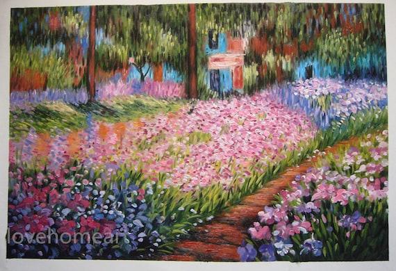 Claude Monet Iris nel giardino di monet a Giverny dipinto a mano olio riproduzione per regalo di arte parete decorazione domestica