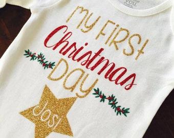 Baby Girl Christmas. First Christmas. Baby girl. Christmas bodysuit. My First Christmas. Baby girl bodysuit. Holiday Bodysuit.