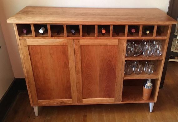 Modern Cherry Liquor Cabinet With Wine Storage