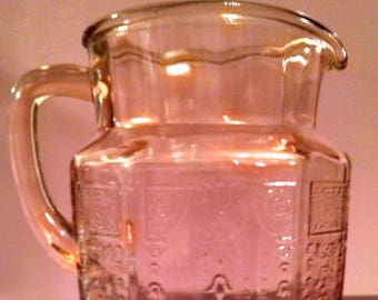 pink princess anchor hocking 60 oz. glass pitcher