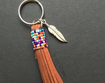 Tassel Keychain, Tribal Keychain, Tribal Tassel, Beaded Tassel, Tassel Purse Charm, Bag Charm, Boho Keychain, Boho Charm, Feather Keychain