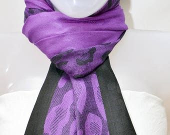 Purple/Black Pashmina Scarf,Indian wedding shawl,Women oversize neck wrap,Spring Summer scarf,Light weight printed scarf,Festival Scarf,USA