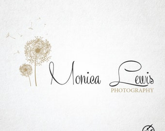 Premade Logo, Custom Logo, Dandelion Logo, Blog Logo, Handwritten Logo, Hand Drawn Logo, Premade Photography Logo, Customizable logo design