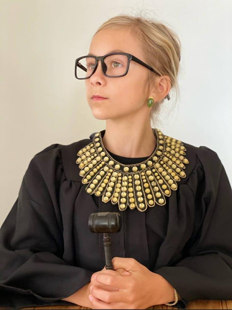 Ruth Bader Ginsburg Gold Silver Handmade Studs Filigree RBG Dissent Collar Jade Earrings
