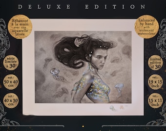 DELUXE Draw: Your Voice is my Price - 50 x 40 cm - Hand-raised with iridescent watercolor, Limited Series at 30 e.g., Stamped
