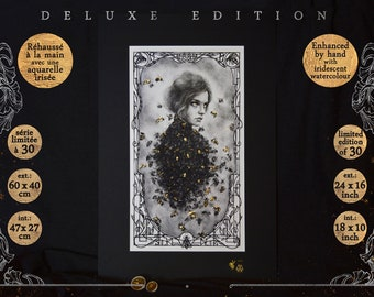 DELUXE draw: Alvearia - 60 x 40 cm - Hand-raised with iridescent watercolour, Series limited to 30 ex., Stamped