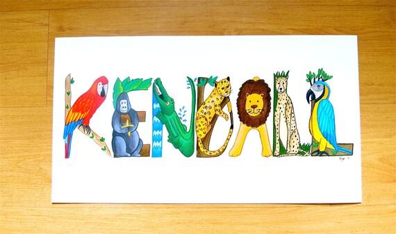 Animal Family Portrait Children/'s Painting Custom Kids Room Wall Art Baby shower Gift for Expecting Mom Monkey Jungle Nursery Decor