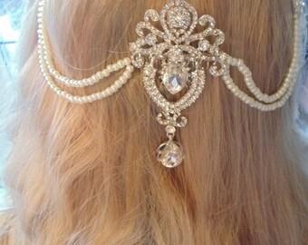 Bridal hair swag, bridal hair drape, bridal hair chain, swag headpiece, pearl hair swag, pearl wedding swag, wedding hair vine, crystal swag