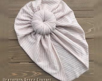 07fb59201d9 Top Knot Hat  Turban  girls  baby  beige stripes jersey knit