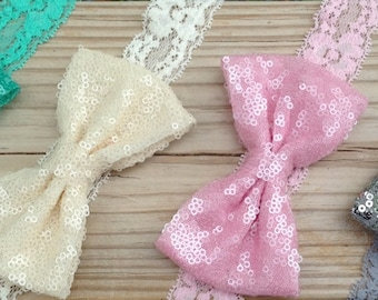 Sequins and Lace Girls Headbands Available in different colors