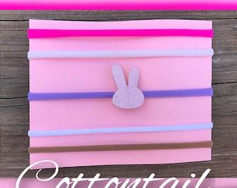 Cottontail/bunny/pink/glitter/easter/tiny/Nylon Headband/Newborn/Photoshoot/Preemie/Simple/Baby headbands/girls