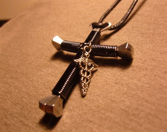 Disciples cross necklace with beach chair and palm tree charm