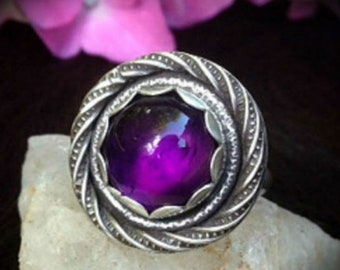Amethyst Ring | Bohemian Jewelry | Gemstone Ring | Stacker Ring | Solitaire Ring | Classic Jewelry | Boho Ring | Birthstone Jewelry
