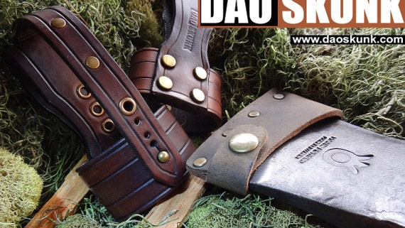 hand crafted leather hatchet axe belt loop for outdoors etsy