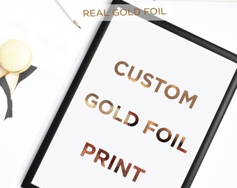 Personalised Gold Foil Print, Typography Prints, Sentimental Art, Custom Design, House-warming Art, Wedding Gift Art
