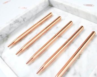 5 Rose Gold Ballpoint Pens, Black Ink