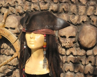 Jack sparrow Leather Tricorn Tricorner Pirate hat Milliner made