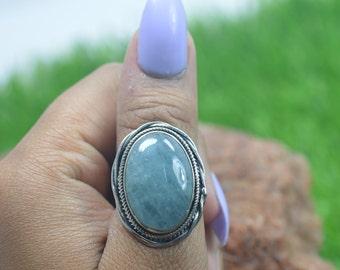 347d29c91a13 Aquamarine 925 Sterling Silver Natural Blue Aquamarine Designer Ring Size  US-7.5   UK- O