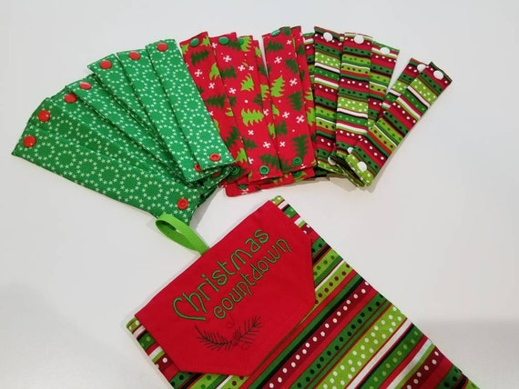 Fabric Christmas Countdown Chain Set With Embroidered Pouch Etsy