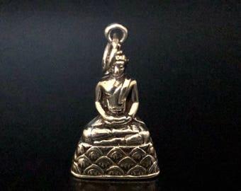 Buddha pendants etsy buddha pendant 925 sterling silver silver buddha pendant meditating buddha hand cast buddhist jewellery silver pendants aloadofball Image collections