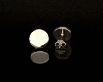Silver Earrings Post Backings High Polish Finish Round Silver Stud Earrings  925 Sterling Silver Simple Silver Button Earrings