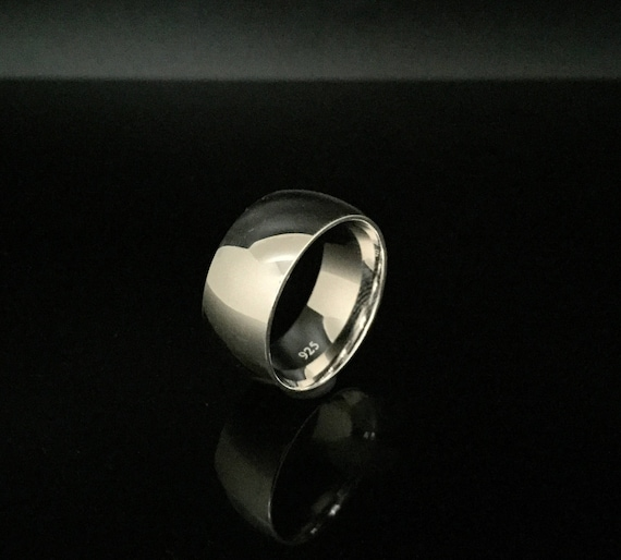 8mm Silver Band Ring  925 Sterling Silver  Plain Band Ring  Silver Wedding Band  Medium Wide Gage Silver Band Ring