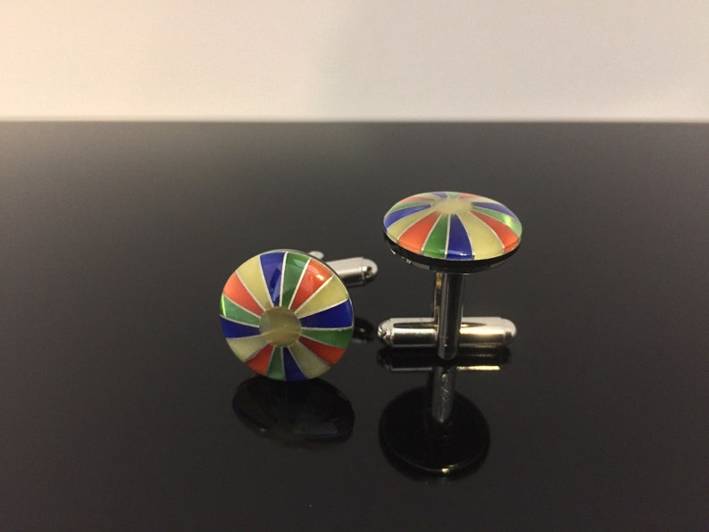 Colorful Shell Inlay Cuff Links  Sturdy Stainless Steel Construction  Cuff Links  Round Shape