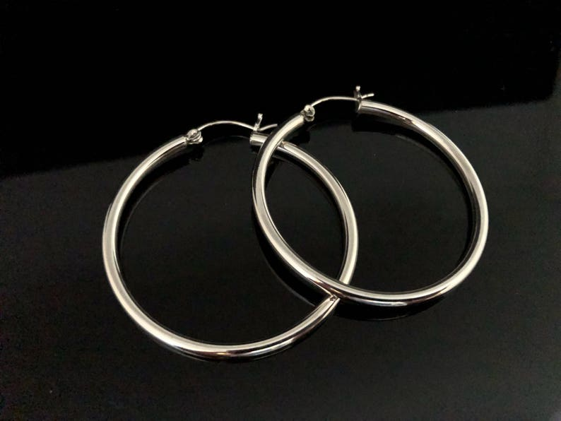 d01cea5e4 Hinged Hoop Earrings 925 Sterling Silver Medium Large | Etsy