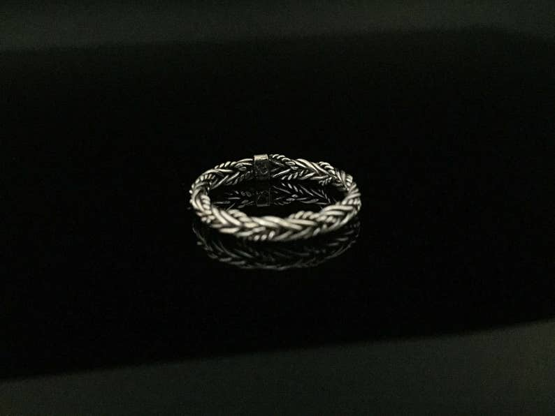 Rustic Hand Braided Silver Ring  925 Sterling Silver  Bali Style Silver Ring  Sterling Ring