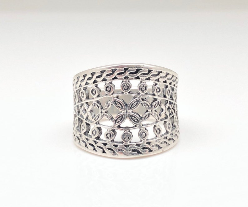 Etched Silver Ring  Detailed Silver Ring  Filigree Silver Ring  Sterling Silver