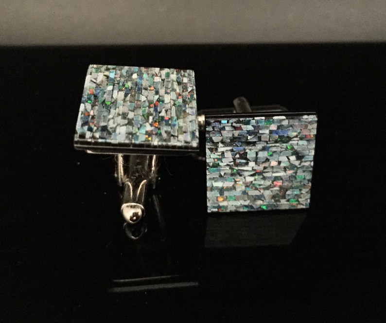 Opal Cuff Links  Sturdy Stainless Steel Construction  Speckled Mosaic Opal Cuff Links  Square Shape