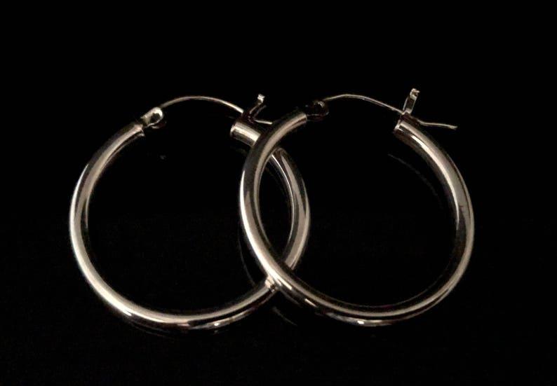 6debd5070 Hinged Hoop Earrings 925 Sterling Silver Medium Sized Hoop | Etsy