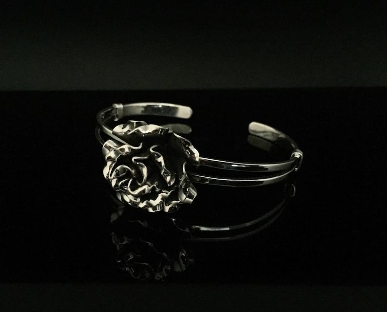 Flower Bracelet Flower Cuff Sterling Rose Cuff Silver Rose Cuff Silver Cuffs Rose Cuff 925 Sterling Silver