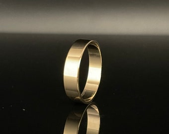 5mm Flat Band Silver Ring // Yellow Gold Plated 925 Sterling Silver // Cigar Band Ring