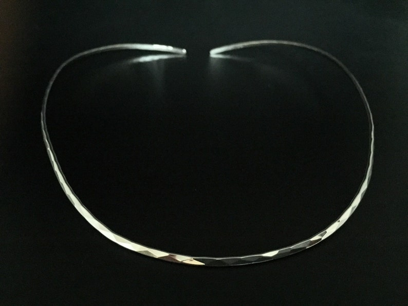 4mm Open Ended Hammered Silver Choker 925 Sterling Silver 16 Inches Contoured Fit Silver Chokers