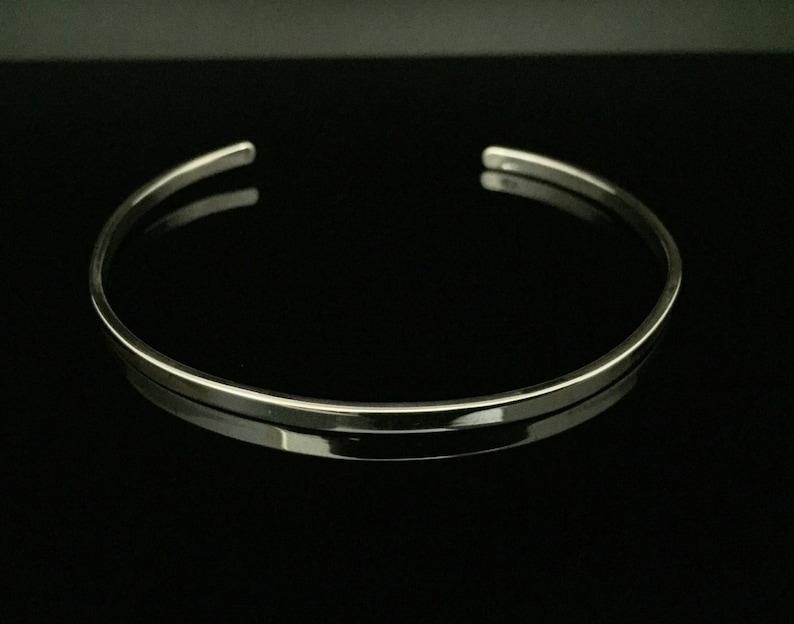 Thin Silver Cuff 925 Sterling Silver 7 Inches Silver Cuffs 3mm Width
