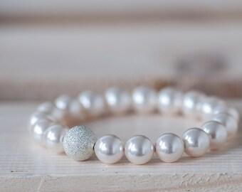Swarovski Pearl Bracelet, Wedding Jewelry, Bridal Jewelry, Pearl Bracelet, Bridesmaid Jewelry, Bracelet, Wedding Bracelet, White Bracelet