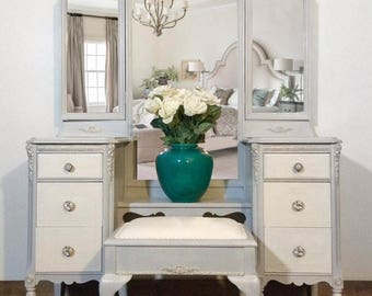 SOLD Hand Painted Gray, White, Gold, Antique, French Provincial, Vanity, Mirrors, Bench