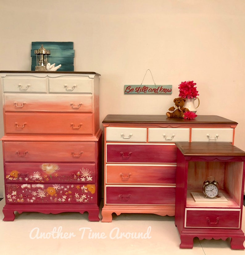 Dresser Chest Ombre Bohemian Eclectic Girls Whimsical Hot Pink Coral White  Blending of Colors Natural Wood Top Solid Maple