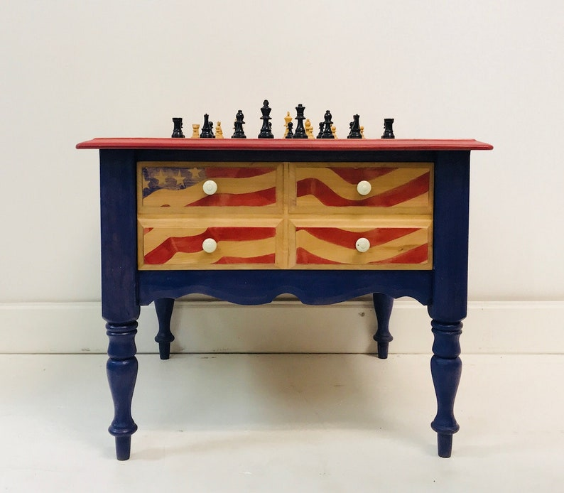 End Side Table Flag Chess Checkers Hand Painted Side Table With Storage  Solid Maple Wood Red White Blue Table Functional Art