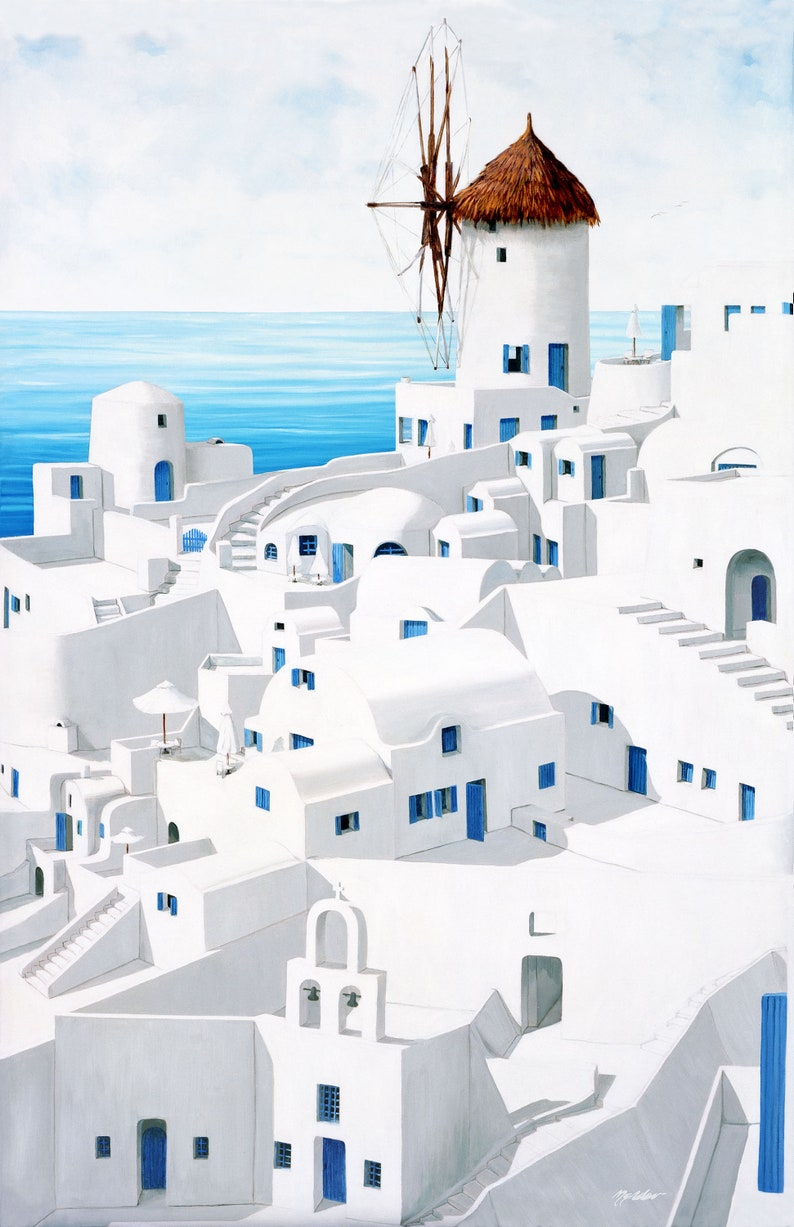 Giclee PrintsDwellings SantoriniArtist Made Canvas and image 0
