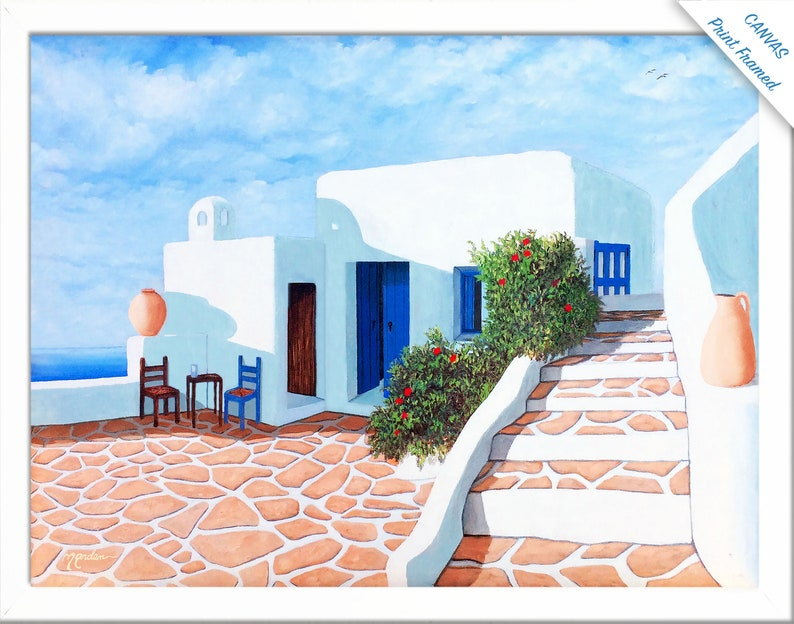 Santorini Morning105Canvas Prints by ArtistPaper CANVAS FRAMED 11X14 inches
