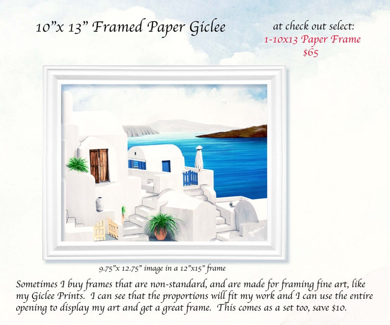 GICLEES-PERSONALIZED PRINTSOn Oia 1- 10X13 PAPER FRAME inches