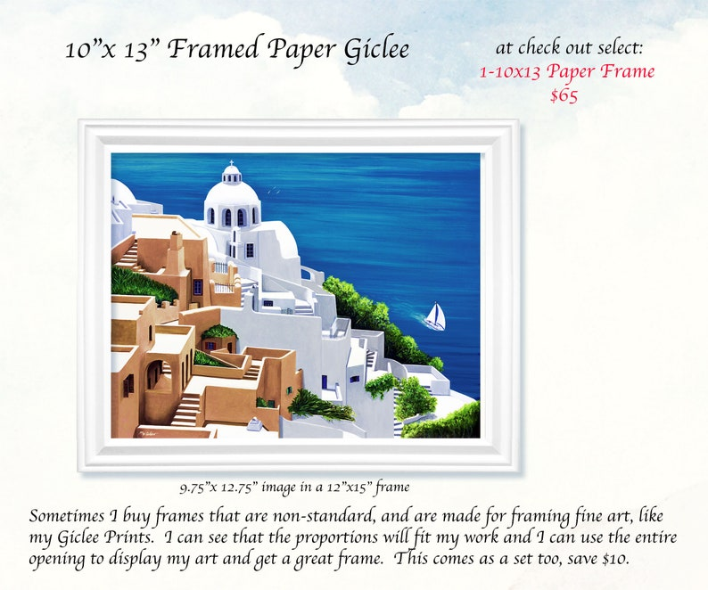 Giclee PrintsSEA SERENE SANTORINICanvas or 1- 10X13 PAPER FRAME inches