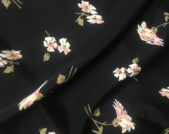 Orient Floral Rayon Crepe Fabric by the Yard, Rayon  by the Yard, Fabric Yardage, Yardage
