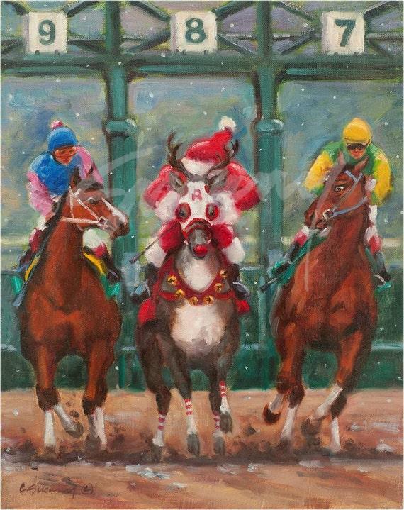 Christmas Horse Racing.Christmas Cards Of Horse Racing Santa Holiday Entry Pack Of 12