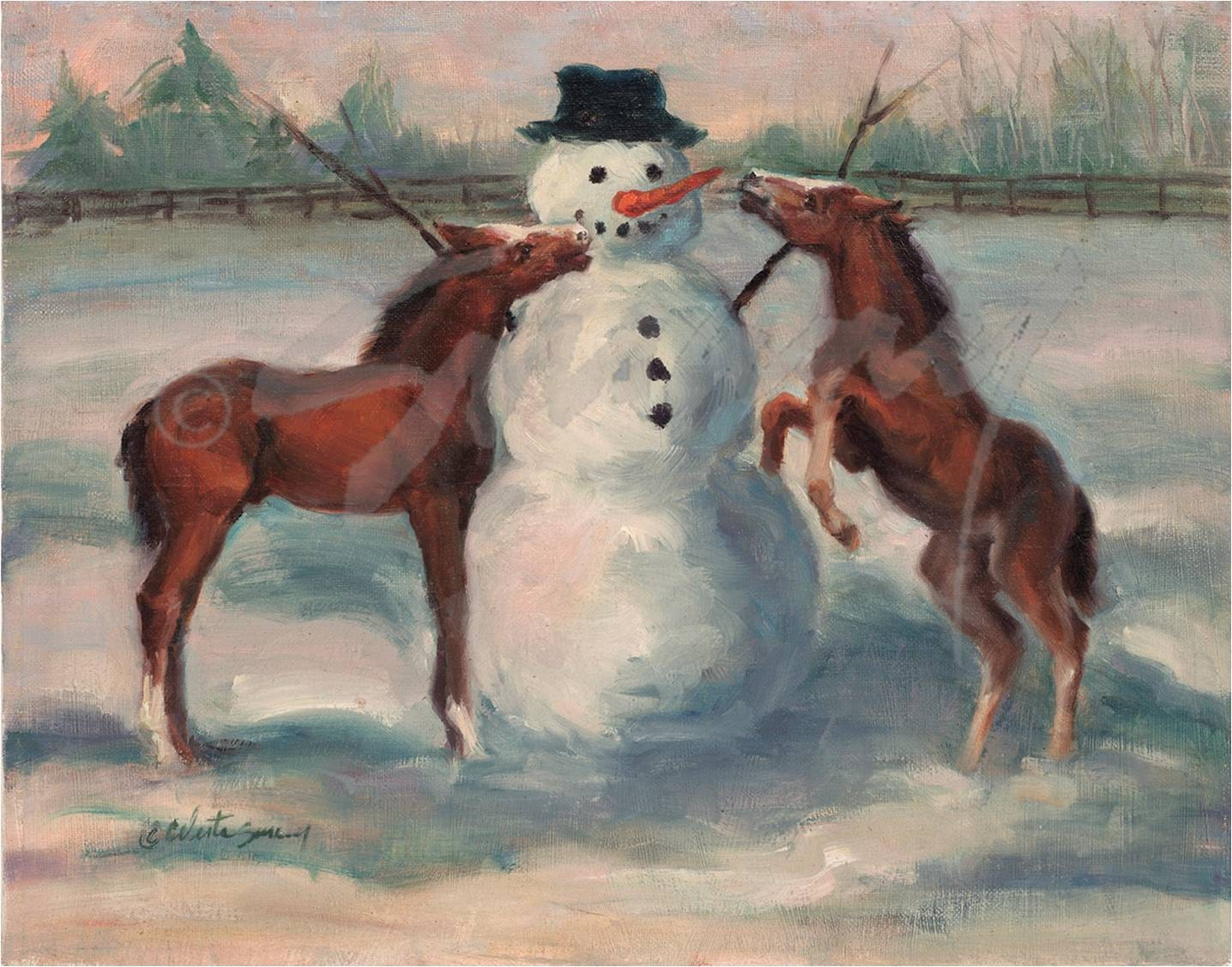 Christmas Card of Snowman and Horses Winter | Etsy