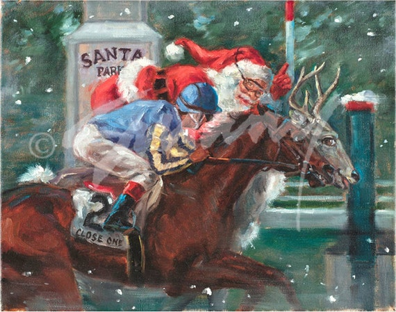 Christmas Horse Pictures.Christmas Cards Of Santa Horse Racing Santa Park Pack Of 12