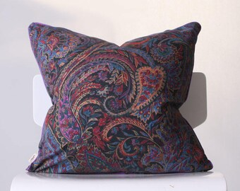 Paisley Pillow Cover with Piping Trim / Purple Pillow / Decorative Pillow / Throw Pillow / Sofa Pillow/ Purple Accent Pillow / Cushion Cover